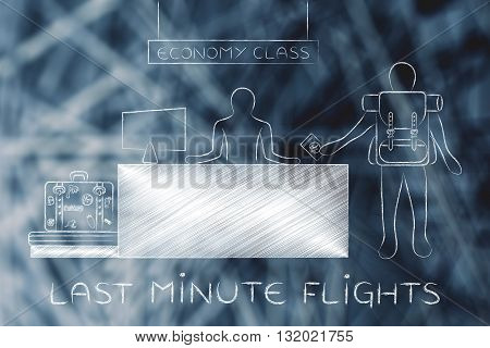 Traveler At Economy Class Airport Check-in, Last Minute Flights
