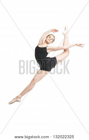 Portrait of beautiful blonde ballet dancer in jump.Isolated