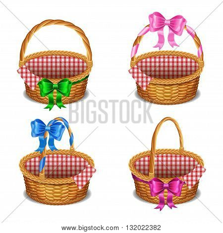 Set of wooden wicker baskets with bows isolated on a white background. Vector illustration