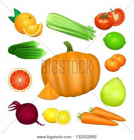 Set of vegetables and citrus fruits. Tomato carrot pumpkin cucumber celery beets orange lemon lime grapefruit pomelo mandarin. Natural bio vegetable healthy organic food. Vector illustration