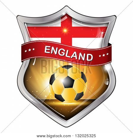 England flag elegant shiny icon / button / label with soccer ball.
