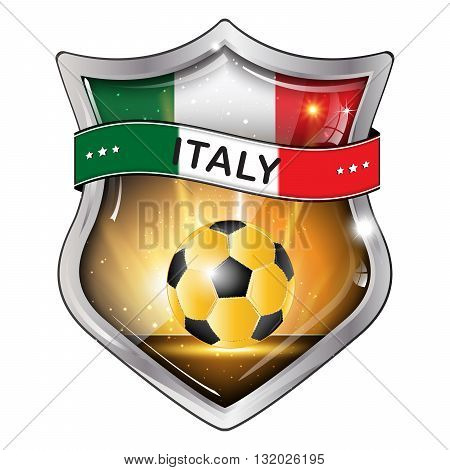Italy  flag elegant shiny icon / button / label with soccer ball.