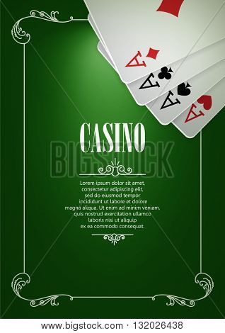 Casino Logo Poster Background or Flyer with Playing Cards. Banner with Casino Logo Badges on Green Canvas. Game Cards. Playing Casino Games. Casino Banner. Casino Games Gambling Template background.