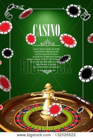 Casino Logo Poster Background or Flyer with Roulette Wheel and Chips. Banner with Casino Logo Badges on Green Canvas. Game Cards. Playing Casino Games. Casino Banner. Casino Games Gambling background.