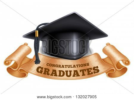 Black graduation cap with vintage ribbon. Isolated on white background. Congratulation Graduates inscription on ribbon. Graduation concept. Vector illustration.