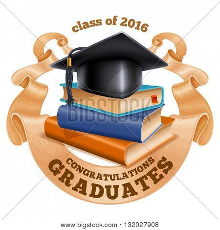 Black graduation cap on stack of books with vintage ribbon. Isolated on white background. Congratulation Graduates inscription on ribbon. Graduation concept. Vector illustration.