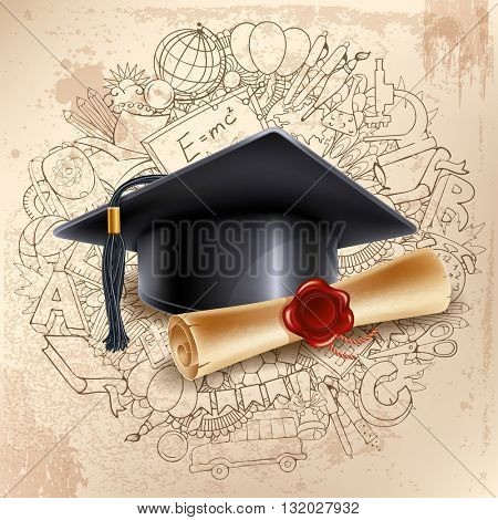 Black graduation cap and diploma on doodle hand drawn background with different school objects. Back to school concept. Congratulation Graduation. Vector illustration.