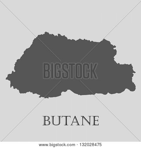 Black Butane map on light grey background. Black Butane map - vector illustration.