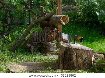 Wood block with ax and parts of tree for firewood are on background of green plants.