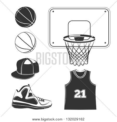 Vector elements, icons for basketball club labels. Basketball sport,  basketball game icon, element for basketball play, basketball illustration