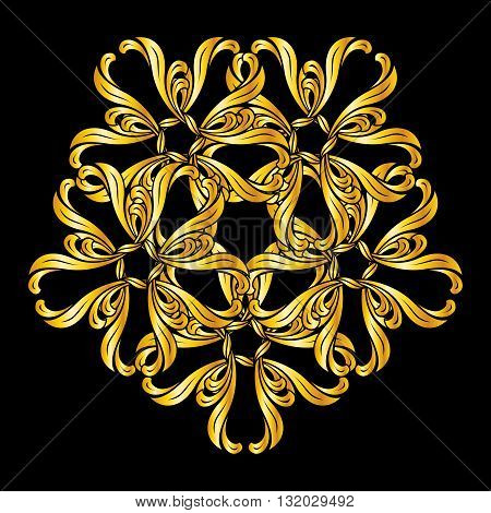 Pattern in floral style and golden shades on black background