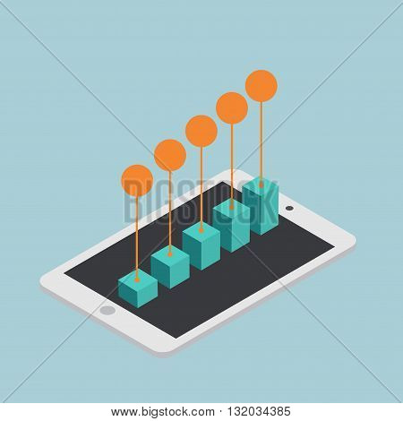vector modern concept isometric mobile marketing infographic.