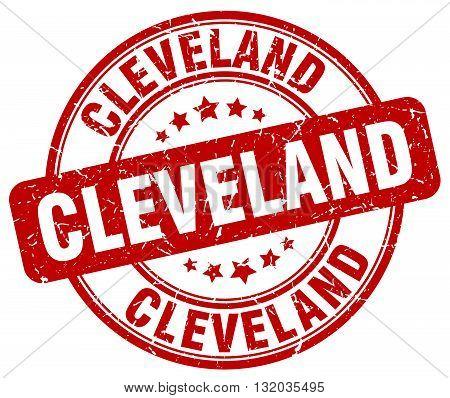 Cleveland red grunge round vintage rubber stamp.Cleveland stamp.Cleveland round stamp.Cleveland grunge stamp.Cleveland.Cleveland vintage stamp.