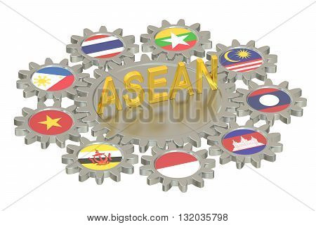 ASEAN concept 3D rendering isolated on white background