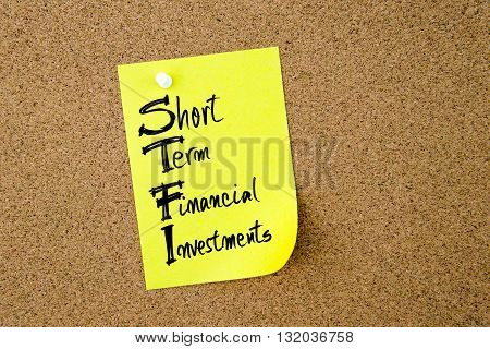 Business Acronym Stfi Written On Yellow Paper Note