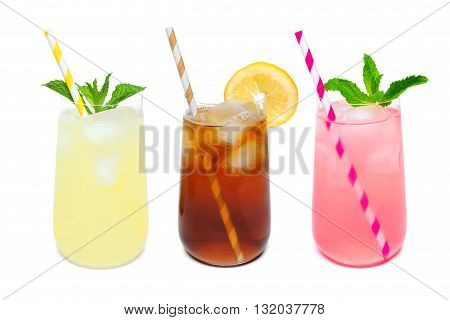 Three Rounded Glasses Of Summer Lemonade, Iced Tea, And Pink Lemonade Drinks With Straws Isolated On