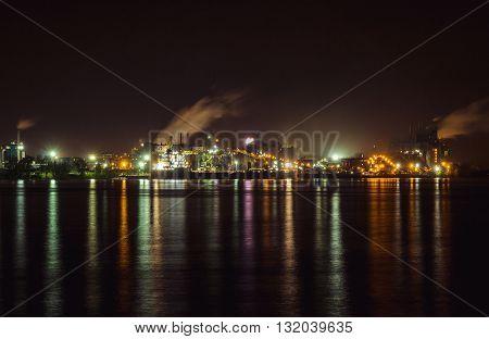 Sorel-Tracy Quebec Canada Industrial coast port at night