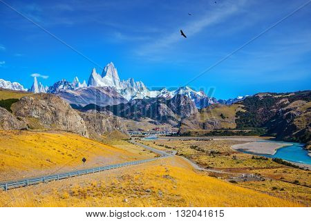The road to the snow-white rocks Fitz Roy and tourist center of El Chalten. Incredible Patagonia
