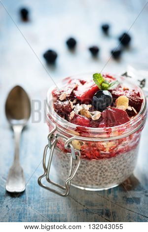Sweet Chia Pudding And Berry Sauce