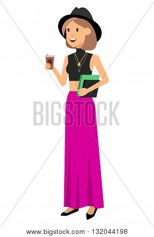 Vector detailed characters people, character business women or sudent, woman in casual clothing style. Business women, character creative woman, people lifestyle isolated on white background