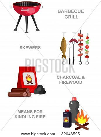 Vector  picnic or Bbq party. Food and barbeque, summer and grill icons. Vector barbeque party and grill food, illustration barbeque party, tableware picnic set. Banner set