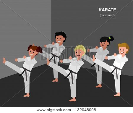 Cute vector character child . Illustration for martial art poster. Kid wearing kimono and karate training. Vector fun child. Illustration of Kid and Sport. Child take karate fighting pose