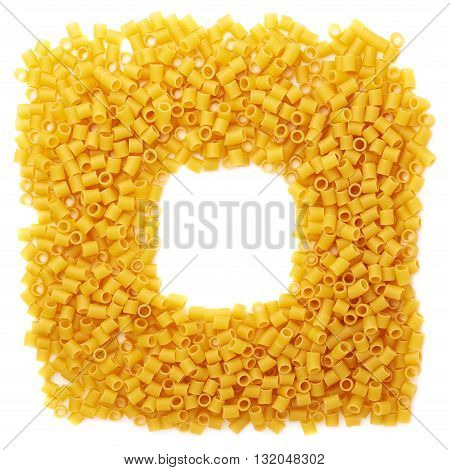 Square frame made of dry ditalini yellow pasta over isolated white background