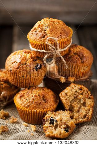 Fresh homemade delicious carrot muffins with dried friuts and nuts
