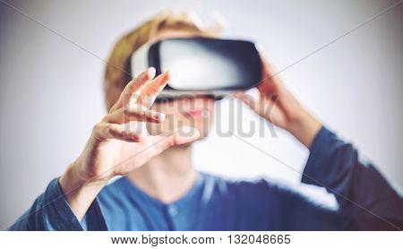 Man Using A Virtual Reality Headset