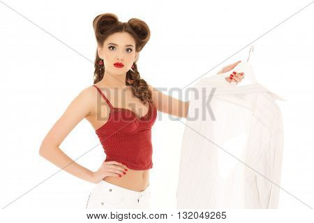 Young Woman With Spoilt Shirt.