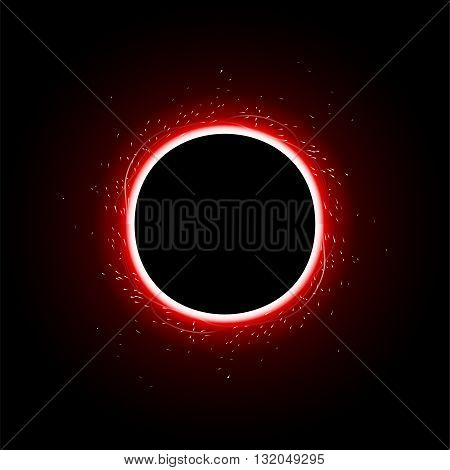 illustration of big red color light around round  dark planet in the sky