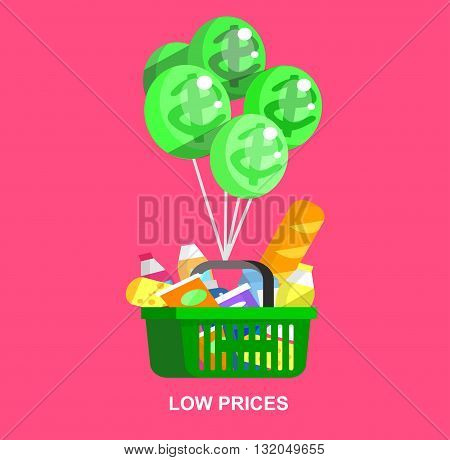 Concept illustration for Shop, supermarket cart. Vector supermarket cart. Healthy eating and eco food in supermarket cart. Vector flat illustration for supermarket.