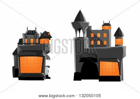 illustration of two different grey color castles on white background