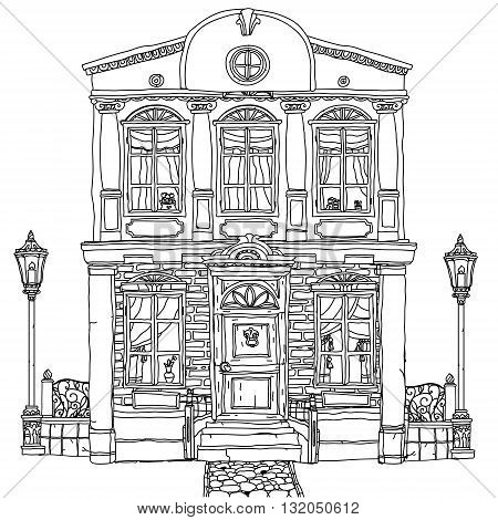 Black and white illustration of a house with details for adult coloring book or for zen art therapy anti stress drawing. Hand-drawn, vector, very detailed, for coloring book, poster design, uncolored