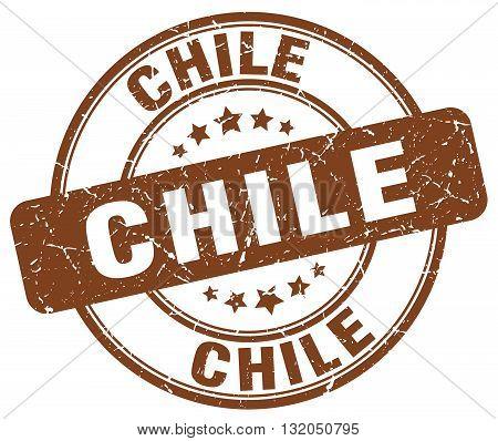 Chile brown grunge round vintage rubber stamp.Chile stamp.Chile round stamp.Chile grunge stamp.Chile.Chile vintage stamp.