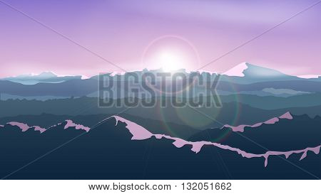 illustration of beautiful calm sunset at mountains