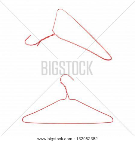 Set of clothes coat red hanger isolated over white background, , different foreshortenings