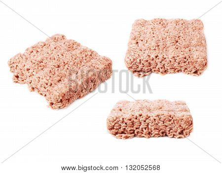 Set of raw miced force meat over white isolated background, , different foreshortenings