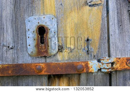 abstract old keyhole on vintage door
