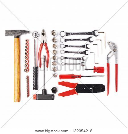 Set of different work tools over white isolated background
