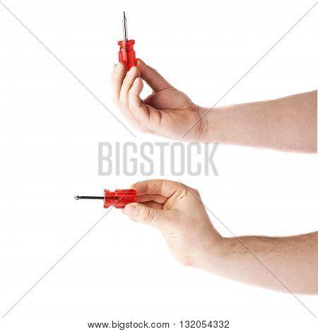Set of worker's caucasian male hand holding a screwdriver  tool, composition isolated over the white background