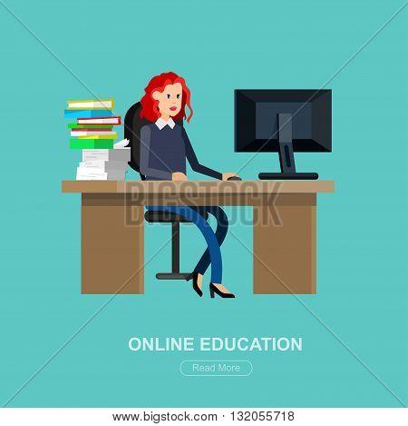Vector character student woman. University courses, online education, exam preparation. University education banner, vector student