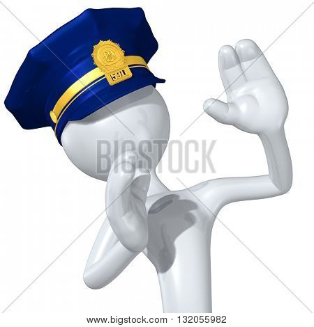 Police Character 3D Illustration