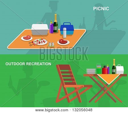 Vector  picnic or Bbq party. Food and barbeque, summer and grill. Vector barbeque party, illustration barbeque party. Banner set