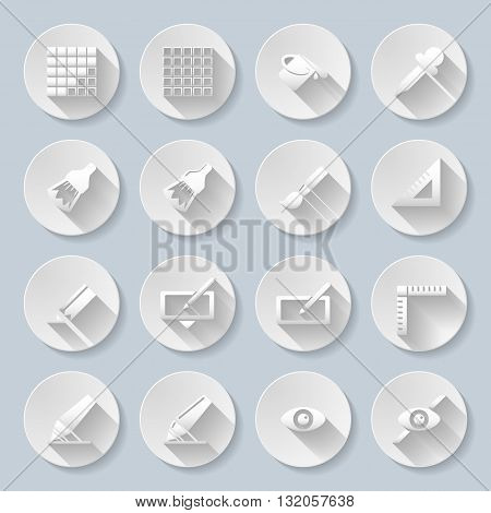 Set of flat round buttons with drawing functions on the gray background