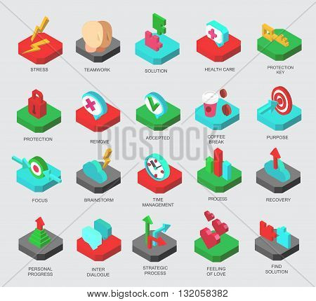 Isometric icons set business elements, clients solution. Premium quality business symbol collection. Business icon. Infographic business icon. Vector logo business process. Business collection concept