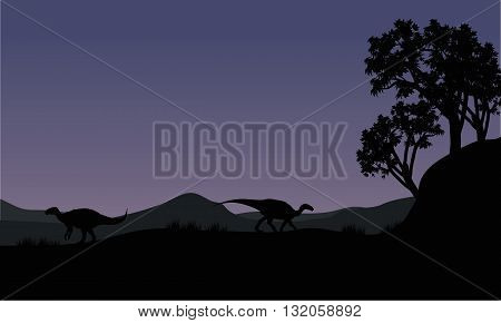 Silhouette of two Iguanodon in the fields