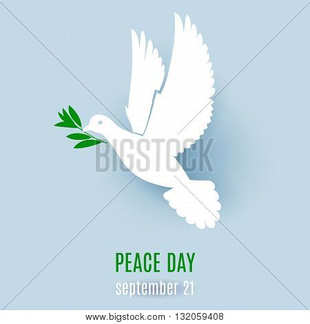 Dove of peace flying with a green twig. Illustration for design