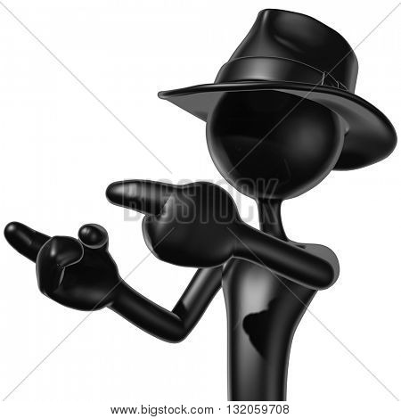 Business Man Wearing A Fedora