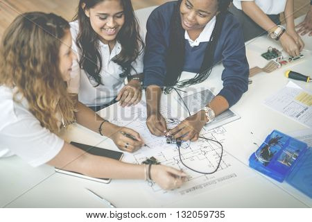 Students Electronic Electricity Circuit System Learning Concept